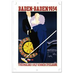 Baden Baden  Hand Pulled Lithograph by the RE Society, Image Originally by Rinne. Includes Certific