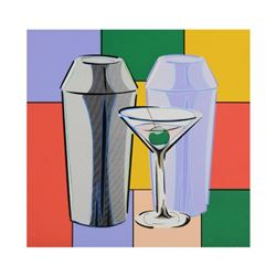 "Steve Kaufman (1960-2010), ""My Martini"" Hand Embellished Limited Edition Silkscreen on Canvas, Numbe"