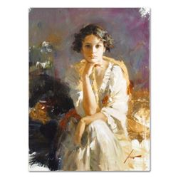 "Pino (1939-2010) - ""Yellow Shawl"" Artist Embellished Limited Edition on Canvas, AP Numbered and Hand"