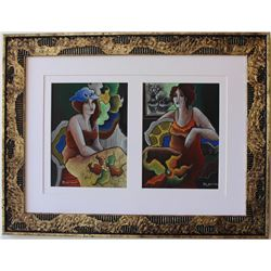 "Patricia Govezensky- Original pastel color on paper ""Mother-Daughter"""