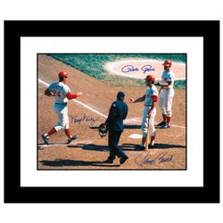 """Tony Crossing the Plate"" Framed Archival Photograph of Tony Perez crossing the plate and being cong"