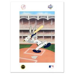 """Bugs Bunny at Bat for the Yankees"" Embossed Collectible Lithograph by Looney Tunes with the MLB Log"