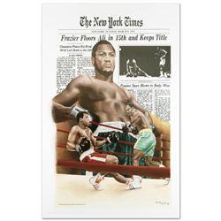 """""""Frazier Floors Ali"""" Fine Art Poster (26.5"""" x 36.5"""") Featuring Heavyweight Champs Joe Frazier and Mu"""