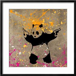 """Banksy """"Panda with Guns"""" Custom Framed Giclee on Paper"""