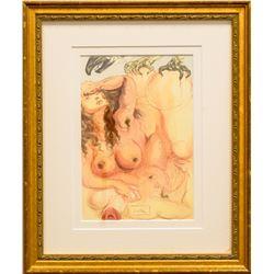 "Salvador Dali- Original Color Woodcut on B.F.K. Rives Paper ""Purgatory 9"""