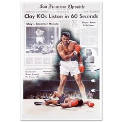 """Clay KOs Liston"" Fine Art Poster (25.5"" x 37"") of Heavyweight Champ Muhammad Ali."