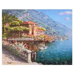 "Park, ""Abbey Bellagio"" Hand Embellished Limited Edition Serigraph on Canvas, Numbered and Hand Signe"