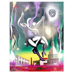 "Mark Kostabi, ""43 No Beginning No End"" Mixed Media Original Painting; Hand Signed, with COA."
