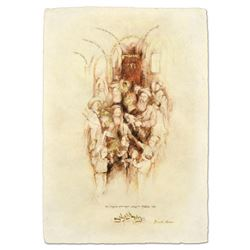 """Brachi Horen, """"Miziyon Tetse Torah"""" Hand-Embellished Mixed Media with Goldleaf, Hand Signed with Cer"""