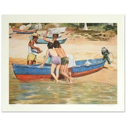 """William Nelson, """"Clam Fisherman"""" Limited Edition Serigraph, Numbered and Hand Signed by the Artist."""