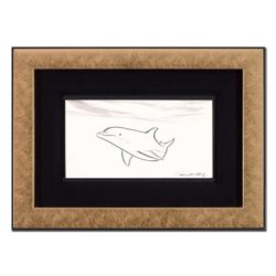 "Wyland - ""Dolphin"" Framed Original Sketch, Hand Signed with Certificate of Authenticity."