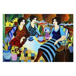 "Patricia Govezensky- Original Acrylic On Canvas ""Teatime In London"""