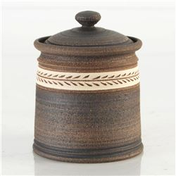 Eugenijus Tamosiunas - Hand Made Ceramic Jar with Lid. Hand Signed by the Artist.