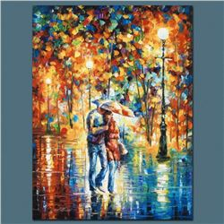 "Leonid Afremov ""Rainy Evening"" Limited Edition Giclee on Canvas, Numbered and Signed; Certificate of"