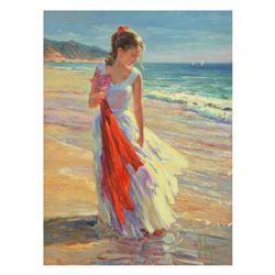 "Vladimir Volegov, ""Coastal Breeze"" Limited Edition Hand Embellished on Canvas, Numbered and Hand Sig"