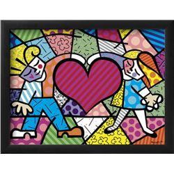 "Romero Britto ""Heart Kids"" Custom Framed Offset Lithograph"