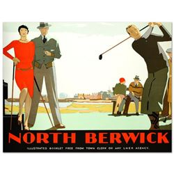 """North Berwick"" Hand Pulled Lithograph (46"" x 36"") by the RE Society, Image Originally by Andrew Joh"