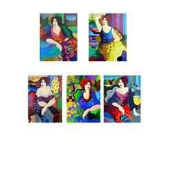 "Patricia Govezensky- Set of 5 Serigraph on Paper ""Gloria, Katy, Margo, Sitting Pretty, Mary"""