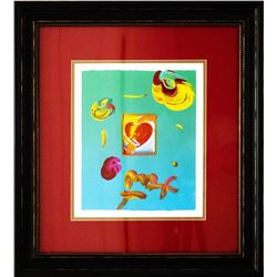 "Peter Max- Original Mixed Media ""Heart Series 2007 Ver. I #219"""