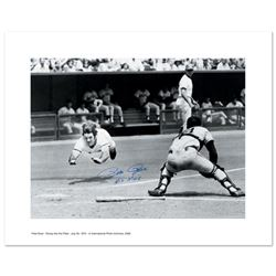 """Pete Rose Diving"" Archival Photograph Taken on July 30, 1972, Autographed by Pete Rose with Certifi"