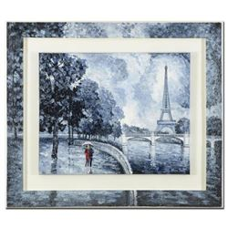 "Alexander Antanenka, ""Rainy Day by the Eiffel Tower"" Framed Original Oil Painting on Canvas (43"" x 3"