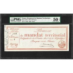 1796 France Promesses de Mandats Territoriaux 100 Francs PMG About Uncirculated