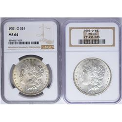 Lot of 1901-O & 1902-O $1 Morgan Silver Dollar Coins NGC MS64