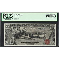 1896 $1 Educational Silver Certificate Note Fr.224 PCGS Choice About New 58PPQ