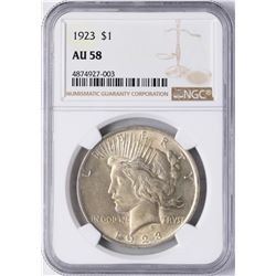 1923 $1 Peace Silver Dollar Coin NGC AU58