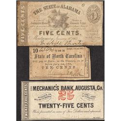 Lot of (3) Fractional Obsolete Bank Notes