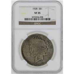 1928 $1 Peace Silver Dollar Coin NGC VF35