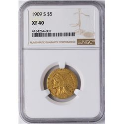 1909-S $5 Indian Head Half Eagle Gold Coin NGC XF40