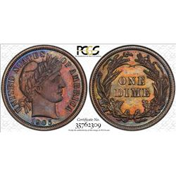 1905 Proof Barber Dime Coin PCGS PR64 AMAZING Toning