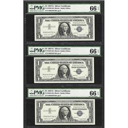Lot of (3) 1957A $1 Silver Certificate Notes Fr.1620 PMG Gem Uncirculated 66EPQ