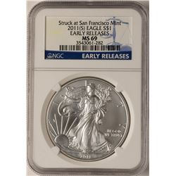 2011-S $1 American Silver Eagle Coin NGC MS69 Early Releases