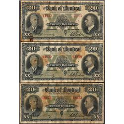 Lot of (3) 1938 $20 The Bank of Montreal Canada Notes