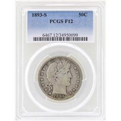 1893-S Barber Quarter Silver Coin PCGS F12