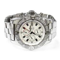 Breitling Mens Super Avenger Stainless Steel 48mm White Stick Dial Watch