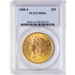 1888-S $20 Liberty Head Double Eagle Gold Coin PCGS MS61
