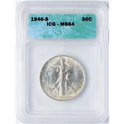 1946-S Walking Liberty Half Dollar Coin ICG MS64