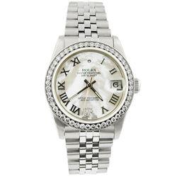 Rolex Ladies Datejust 18KT Yellow Gold & Steel 31mm MOP Roman Diamond Dial Watch