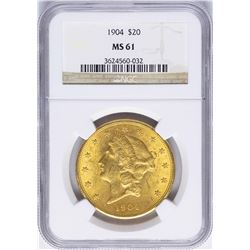 1904 $20 Liberty Head Double Eagle Gold Coin NGC MS61