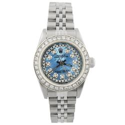 Rolex Ladies Oyster Perpetual Stainless Steel 26mm MOP Diamond Dial Watch