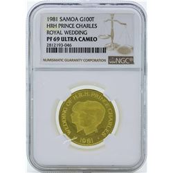 1981 Samoa 100 Tala Prince Charles Royal Wedding Gold Coin NGC PF69 Ultra Cameo