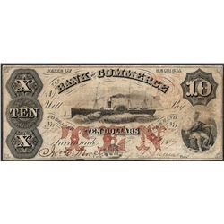 1860's $10 Bank of Commerce Georgia Obsolete Note