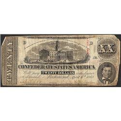 1863 $20 Confederate States of America Note