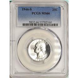 1946-S Washington Quarter Coin PCGS MS66
