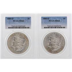 Lot of (2) 1885-O $1 Morgan Silver Dollar Coins PCGS MS63