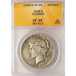 1928 $1 Peace Silver Dollar Coin ANACS VF35 Details
