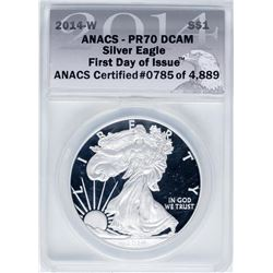 2014-W $1 Proof American Silver Eagle Coin ANACS PR70DCAM First Day of Issue